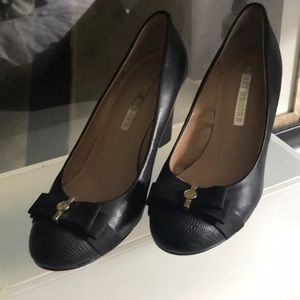 Audrey Brooke Black Wedge with Bow